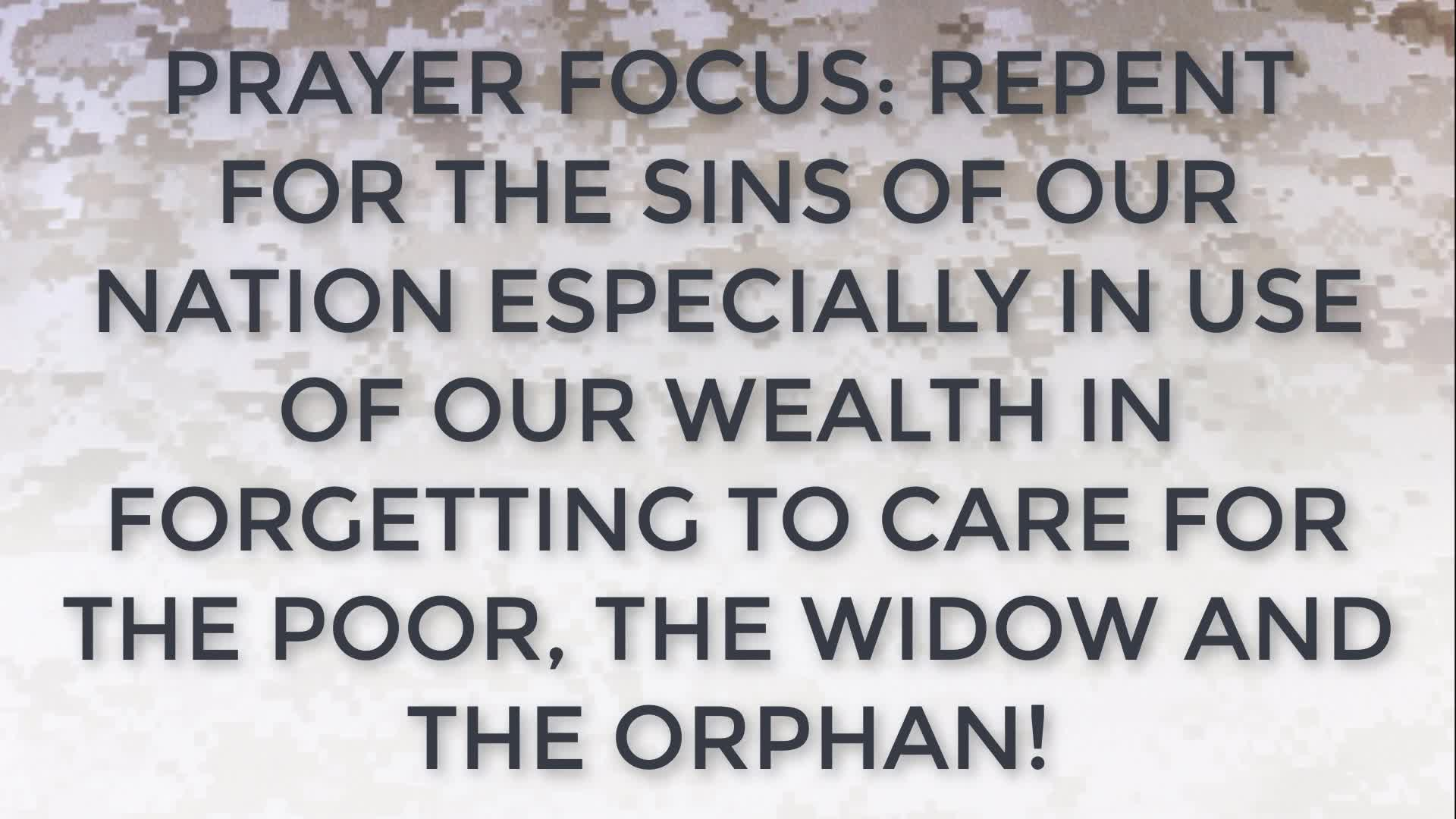 PRAYER FOCUS REPENT FOR THE SINS OF OUR NATION