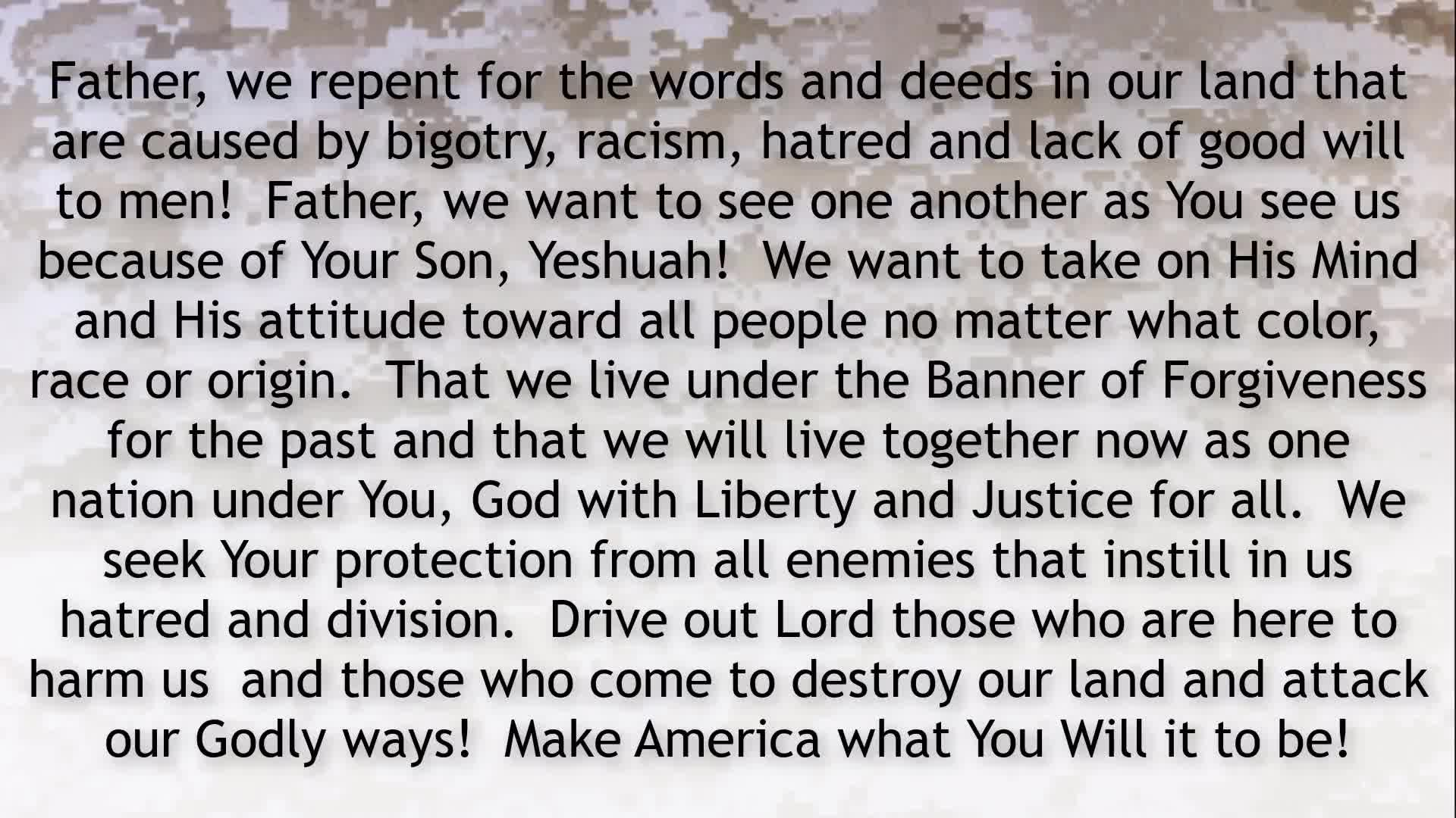 PRAYER FOCUS REPENT TO CLEANSE THE TEMPLE OF AMERICA!
