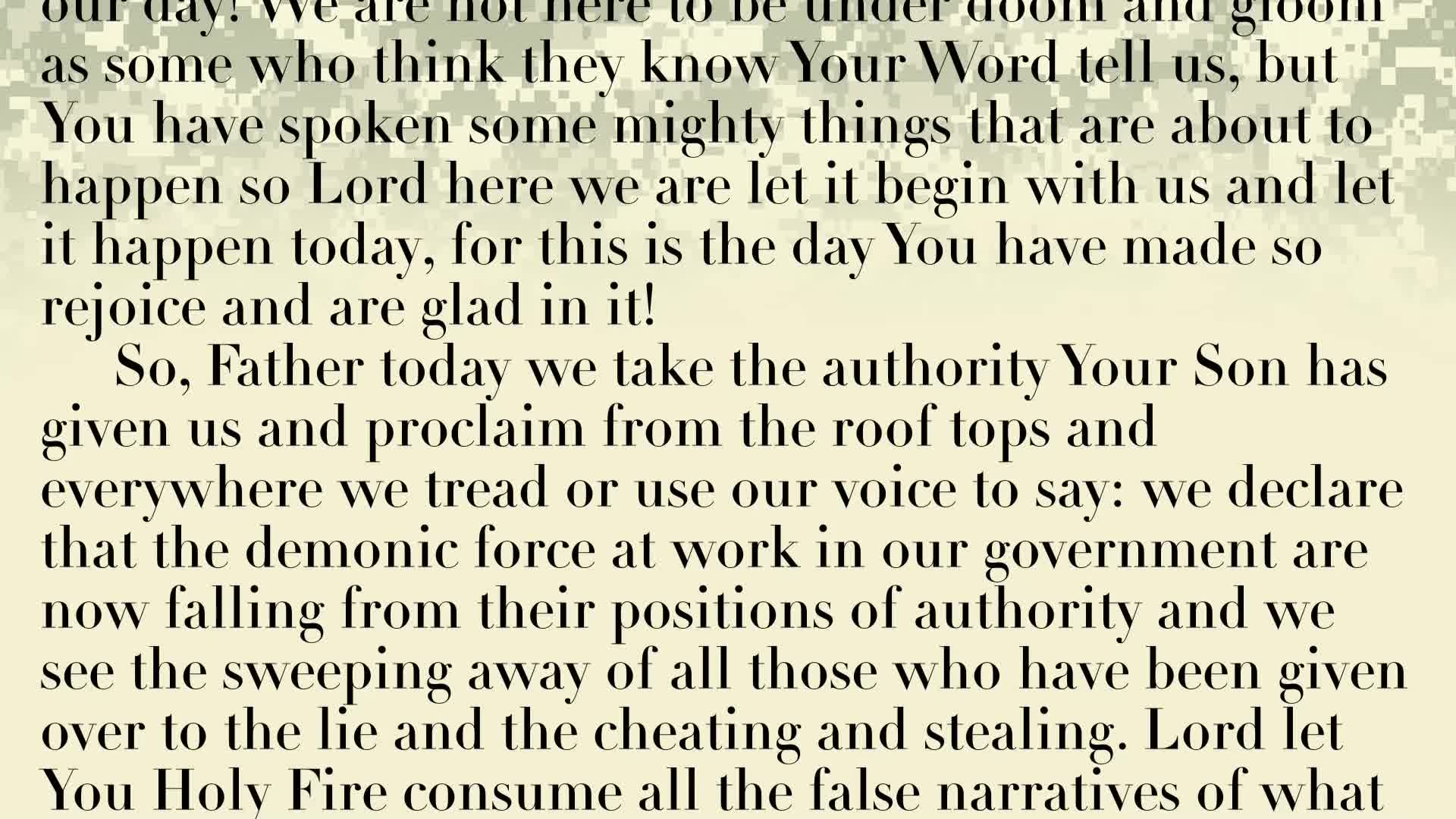 PRAYER FOCUS: GOD SPEAKS TO US THROUGH THE PRIESTLY PRAYER JUST AS HE DID TO HIS SON! SAY THOSE WORDS OVER YOURSELF!