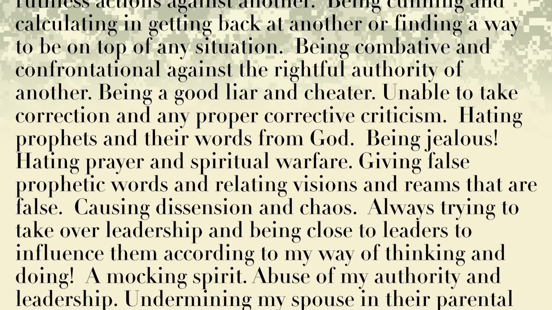 PRAYER FOCUS: RENUCIATION PRAYER FO SPIRIT OF JEZEBEL IN OUR LIFE AND THE LIFE OF THE NATION!